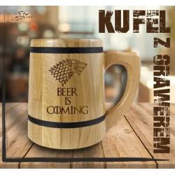 BEER IS COMING KUFEL Z GRAWEREM KUFEL DREWNIANY, PREZENT, DZIEŃ CHŁOPAKA