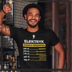Elektryk stawka godzinowa Koszulka zawód koszulka z nadrukiem Elektryk