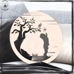 chłopiec i drzewo Obręcz, koło, baza do łapacza