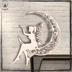 wróżka na księżycu 5 baza do łapacza, ozdoba na ścianę