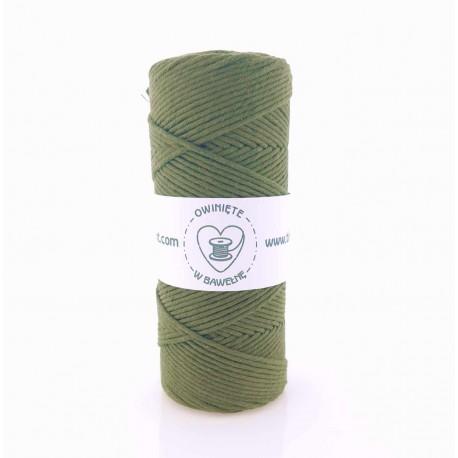 Zgnita zieleń - 3mm Sznurek bawełniany skręcany
