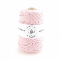 Jasny różowy - 3mm Sznurek bawełniany skręcany
