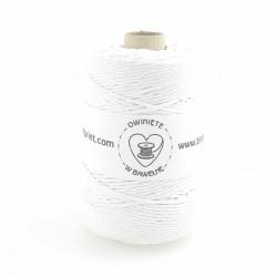 Biały - 3mm Sznurek bawełniany skręcany