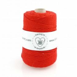 Soczysta czerwień - 3mm 200m Sznurek bawełniany skręcany
